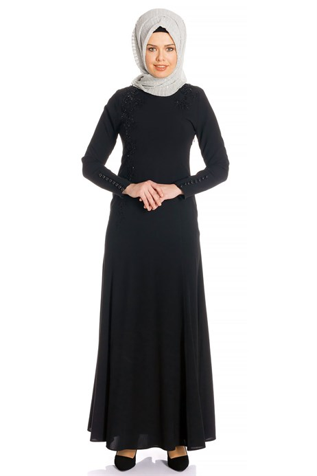 Fish Black Modest Evening Dress