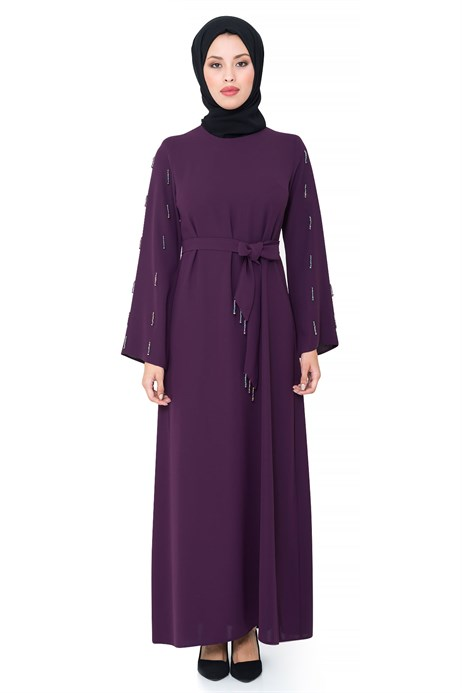 Bead Inlaid Purple Modest Evening Dress