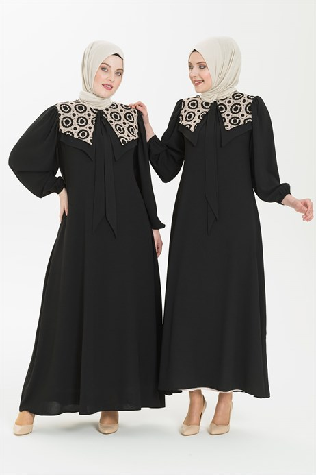 Black Hijab Dress with Embroidered Collar 5226