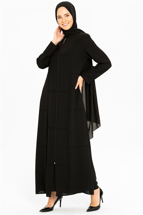 Line Pleat Detailed Sport Black Abaya 3M3201