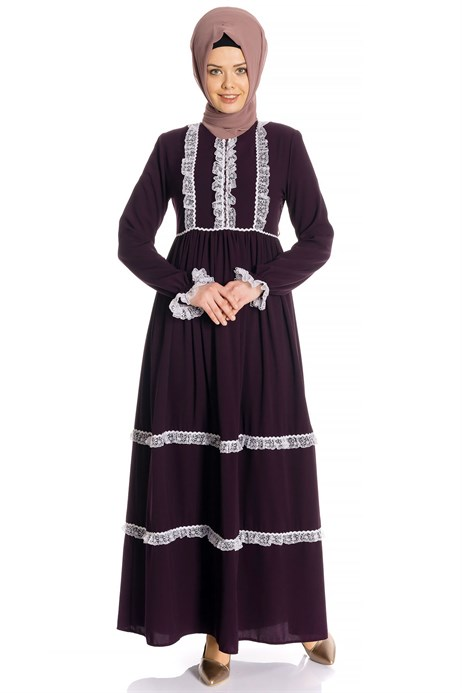 Laced Shirred Damson Modest Dress