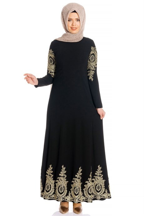 Laced Black Modest Evening Dress 3M716