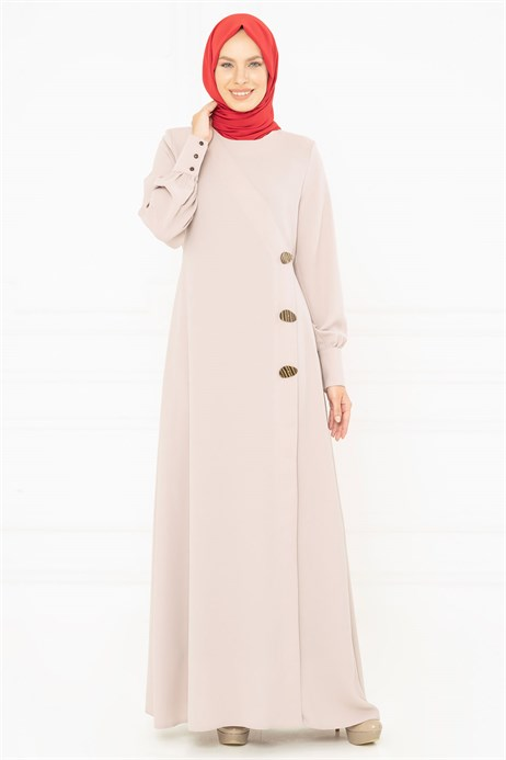 Button Detailed Beige Modest Evening Dress 3M5183