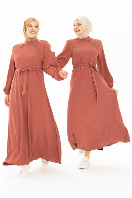 Button Detailed Dusty Rose Hijab Dress 5228