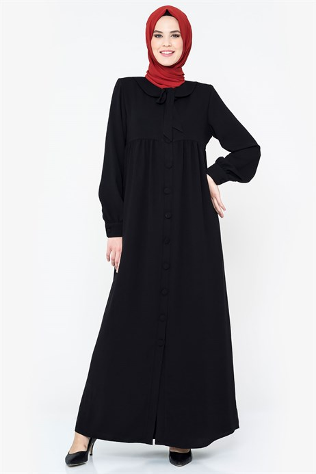 Buttoned Round Collar Black Ferace