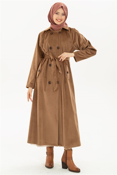 Buttoned Mink Coat with Sash 3M3147