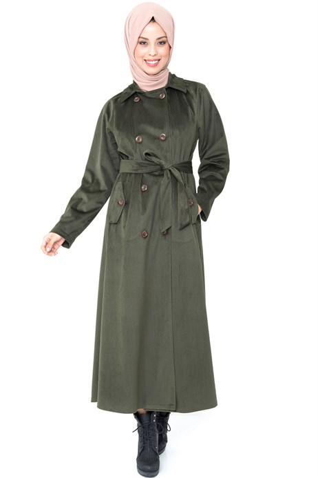 Buttoned Green Coat with Sash 3M3147