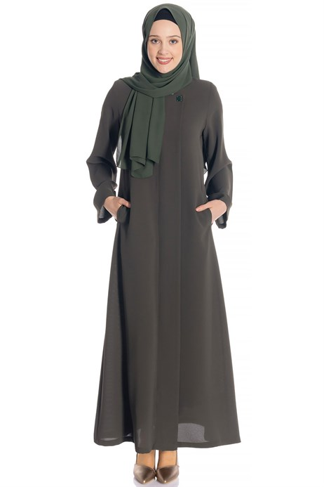 Zippered Khaki Abaya with Gripper