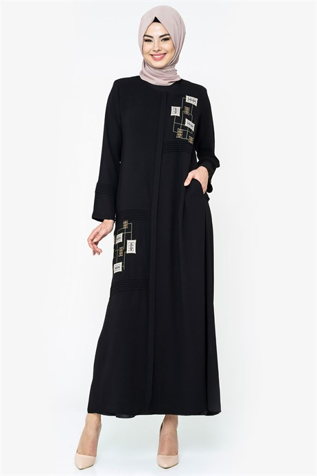 Zippered Ornamented Ethnic Detailed Black Abaya