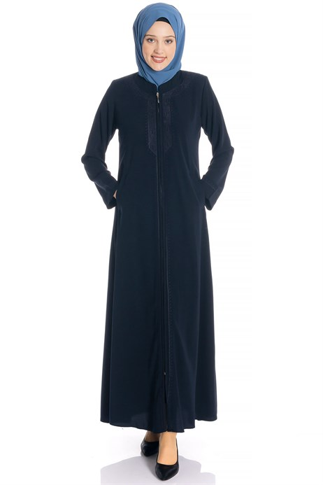 Zippered Ornamented Navy Blue Abaya