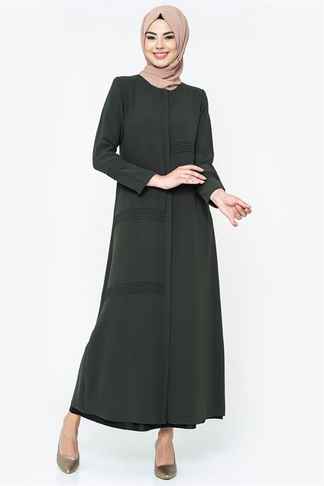 Zippered Rib Detailed Khaki Abaya