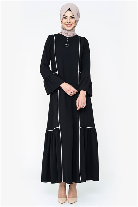 Zippered Powder Pipe Detailed Black Abaya