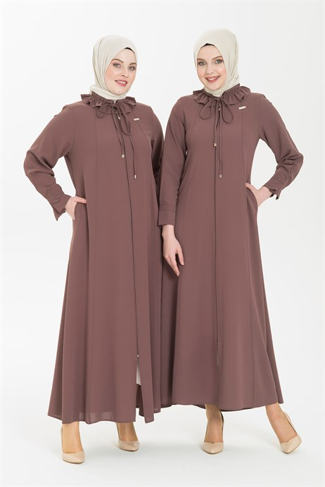 Ruffle Shirt Collared Brown Abaya 3330