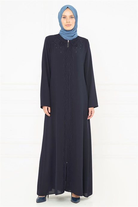 Flora Ornamented Navy Blue Abaya 3M3218