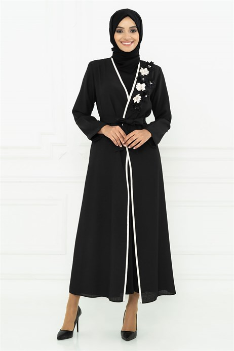 Rose Designed Black Abaya 3M3116