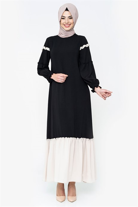 Two-colored Black Modest Dress