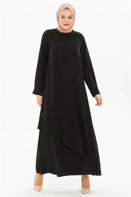 Layer Detailed Black Modest Dress 3M5155