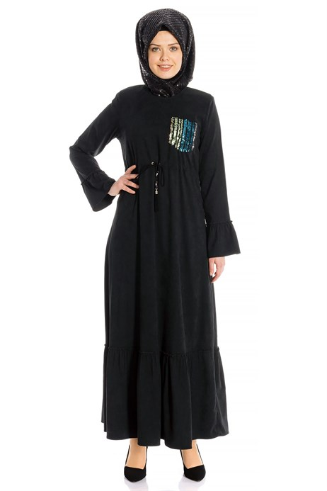Belted Black Suede Modest Dress