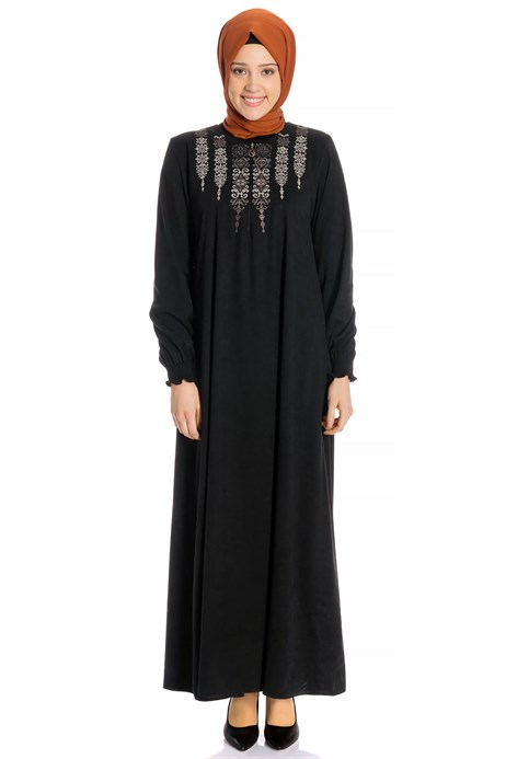 Neck Ornamented Black Suede Modest Dress