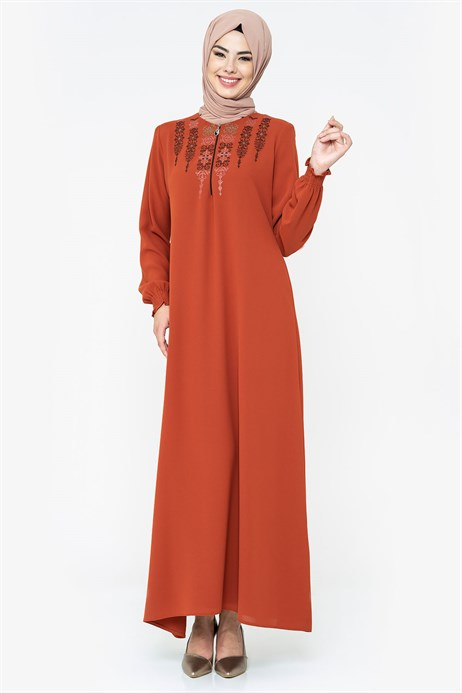 Ornamented Cinnamon Modest Dress