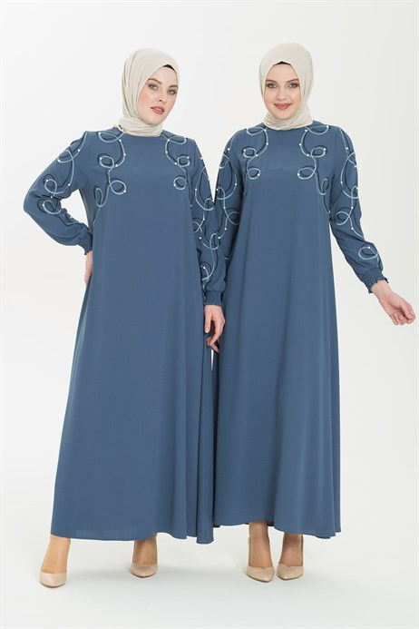 Embroidery and Pearl Detailed Blue Hijab Dress 5241