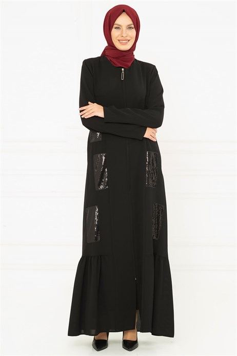 Spangle Detailed Black Abaya 3M3200