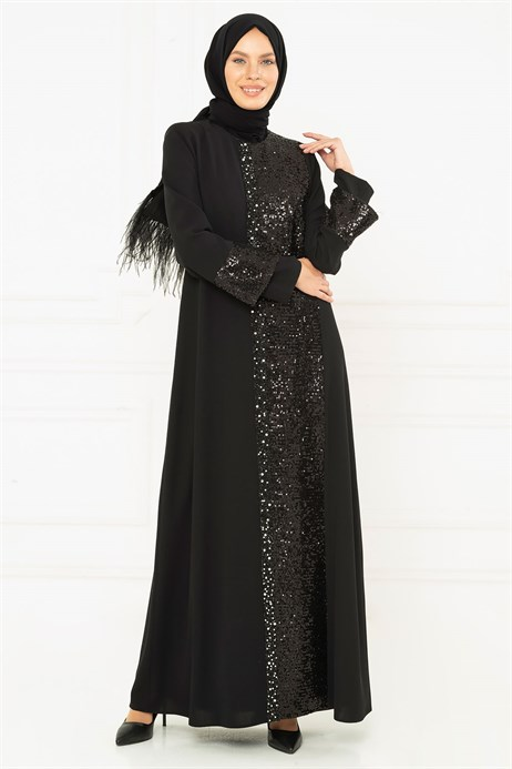Spangle Detailed Black Modest Evening Dress 3M5153