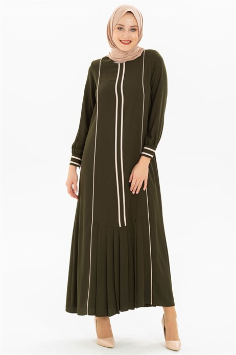 Pipe and Pleat Detailed Khaki Dress 3M5179
