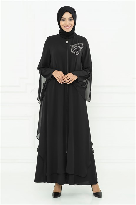 Gem Detailed Chiffon and Lined Black Ferace 3M3210
