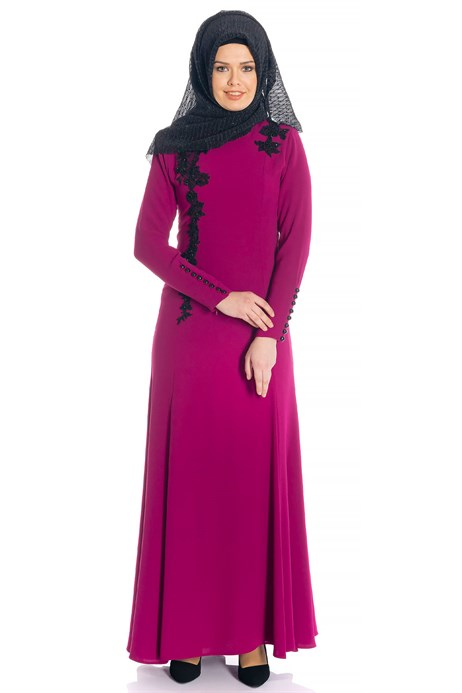 Fish Fuchsia Modest Evening Dress