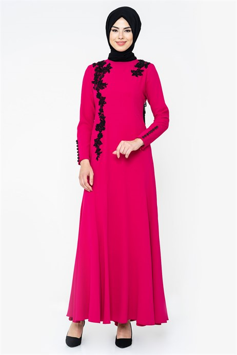 Fish Dark Fuchsia Modest Evening Dress