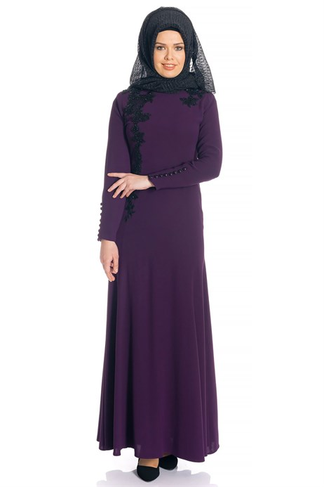 Fish Purple Modest Evening Dress