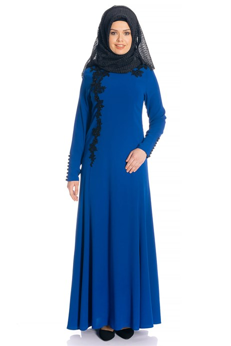 Fish Saxe Blue Modest Evening Dress