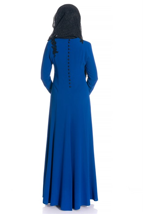 Beyza-Fish Saxe Blue Modest Evening Dress