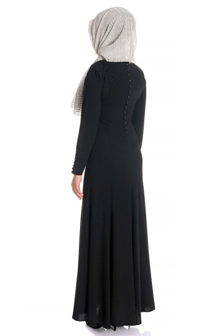 Beyza-Fish Black Modest Evening Dress
