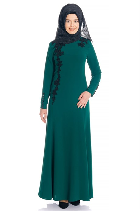 Fish Green Modest Evening Dress