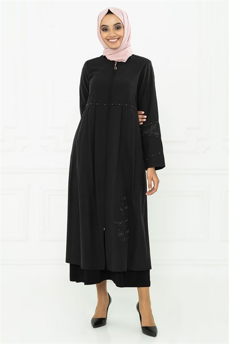 Black Abaya with Pleat and Ornament Detail on Waist 3M3104