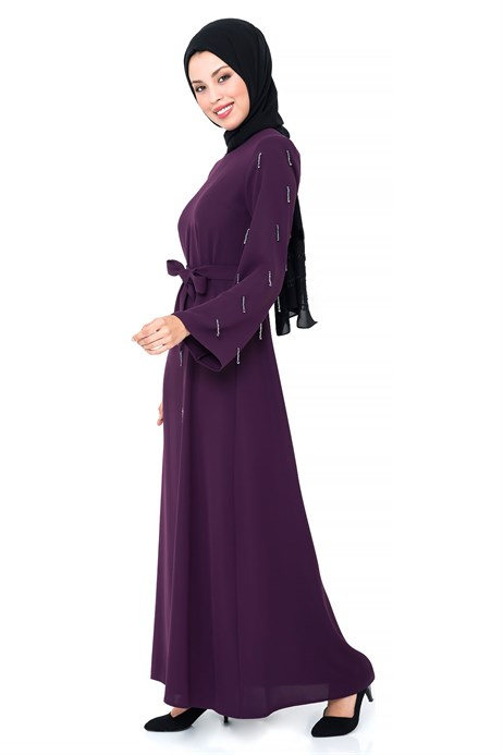 Beyza-Bead Inlaid Purple Modest Evening Dress