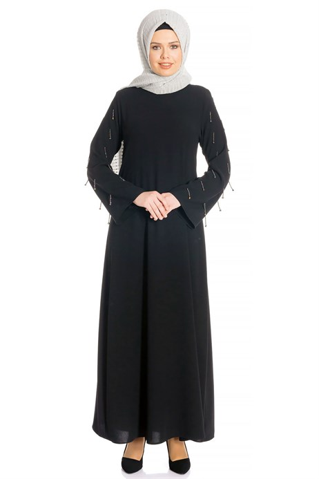 Bead Inlaid Black Modest Evening Dress