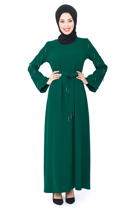 Bead Inlaid Green Modest Evening Dress