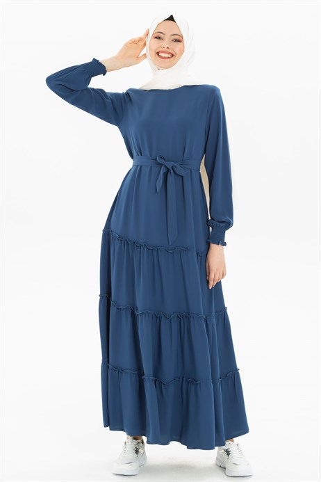 Shirring Detailed Indigo Modest Dress 3M5201
