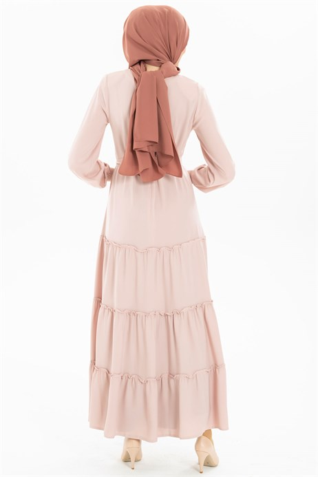 Beyza-Shirring Detailed Powder Modest Dress 3M5201
