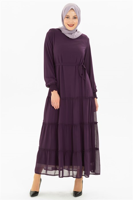 Shirring Detailed Chiffon Damson Modest  Dress 3M5201