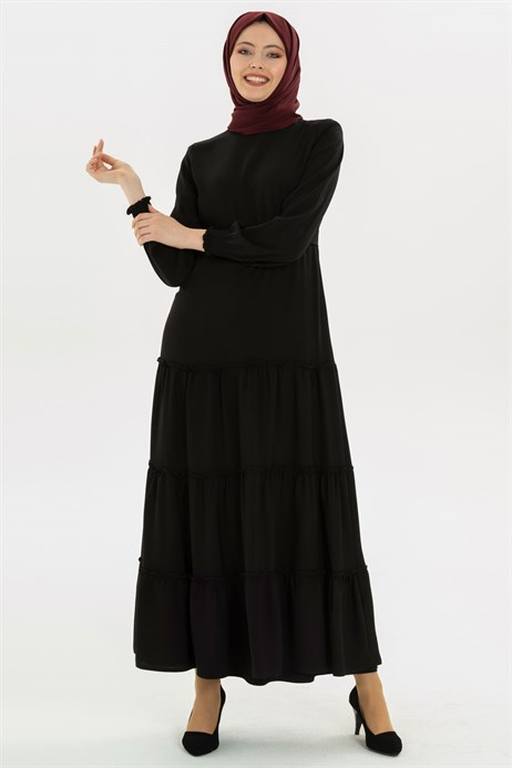 Shirring Detailed Black Modest Dress 3M5201