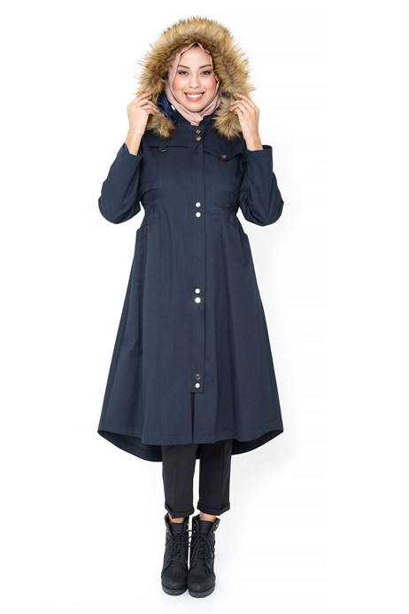 Hoodie Light Navy Blue Trench Coat with Zipper