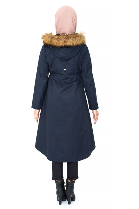 Beyza-Hoodie Light Navy Blue Trench Coat with Zipper