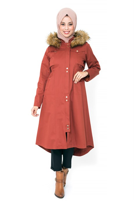 Beyza-Hoodie Brick Color Trench Coat with Zipper
