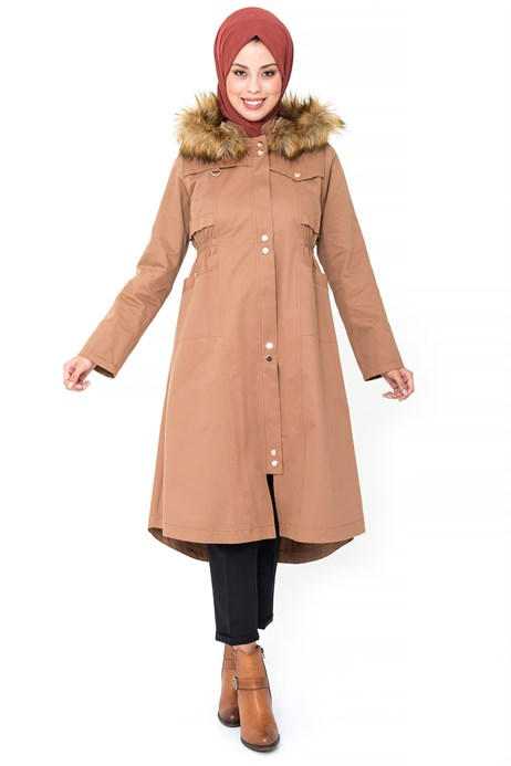 Hoodie Ginger Trench Coat with Zipper