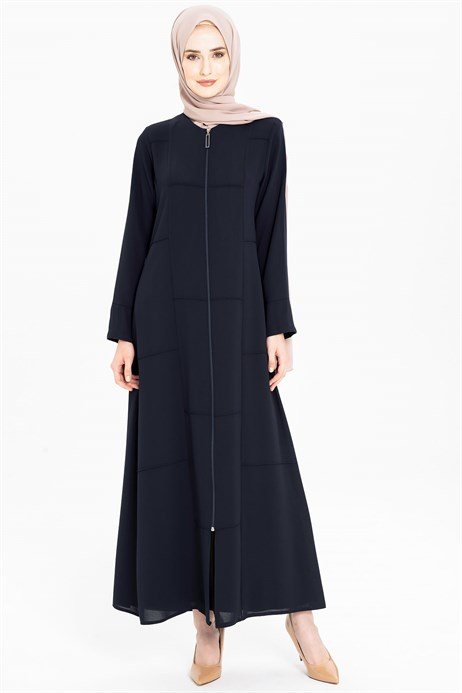 Line Pleat Detailed Sport Navy Blue Abaya 3M3201