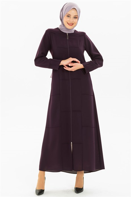 Line Pleat Detailed Sport Damson Abaya 3M3201